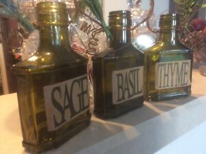 Decorative Green Glass Herb bottles