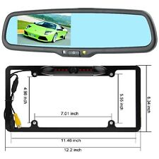 "Rear view mirror w/ 4.3"" LCD monitor & Licence Plate Frame Backup Camera Combo"