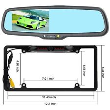 "Licence Plate Frame Backup Camera w/ Rear view mirror w/ 4.3"" LCD monitor combo"