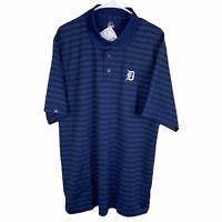 NEW Detroit Tigers Polo Golf Shirt XL Navy Blue Striped Majestic MLB S/S Dri Fit