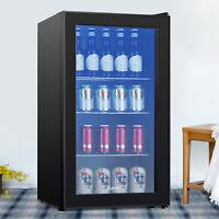 120 Cans 3.1 Cu.Ft. Beverage Soda Beer Bar Mini Fridge Cooler Glass Door Black