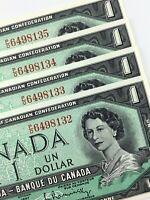1967 Canada 1 Dollar Consecutive Uncirculated PO Beattie Rasminsky Banknote R303
