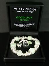 SILVER PLATED HEART CHARM BRACELET WITH NEW JADE BEADS BY CHARMOLOGY GIFT BOXED
