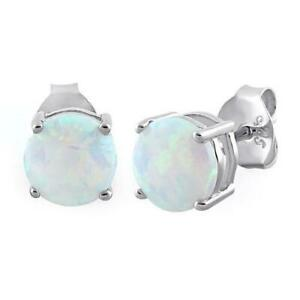 Melchior Jewellery Sterling Silver White Created OPAL Stud Earrings Gift Bag