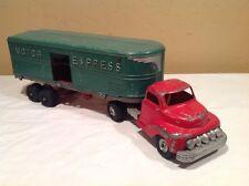 "Vintage Hubley Kiddie Toy ""Motor Express"" Diecast Tractor Trailer Semi Truck"