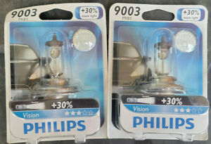 SET OF 2 HEADLIGHT BULBS VISION PHILIPS 9003PRB1