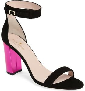 Kate Spade Ilona Too Sandal Black/fuchsia Pink Mirror Heels Size 9