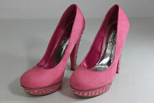 FREE SHIPPING Gomax Womens Sz 7.5 Pink Stud Stilettos High Heels Platforms Shoes