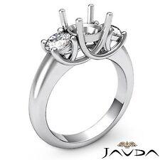 Diamond 3 Stone Engagement Trellis Ring 18k White Gold Round Semi Mount 0.8Ct