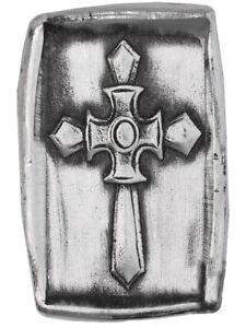 Knights Templar Christian Cross 1 oz Silver 999 Fine 3D Hand Poured Ingot Bar