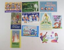Vintage Missed You at Sunday School Christian Postcards - 10 Different Cards  A