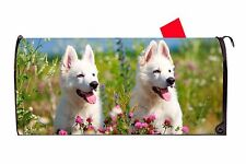 White Swiss Shepherd Puppy Dog Magnetic Vinyl Mailbox Cover Made In Usa