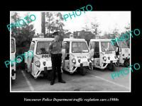 OLD POSTCARD SIZE PHOTO OF VANCOUVER CANADA THE POLICE TRAFFIC CARS c1980