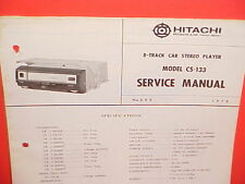 1970 HITACHI 8-TRACK CAR STEREO TAPE PLAYER FACTORY SERVICE MANUAL MODEL CS-133