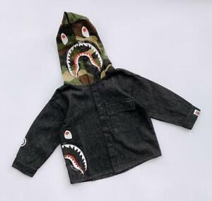 New Kids Boy Girl Blue Shark Jean Jacket Winter Sweatshirts Hoodies Cool Coat