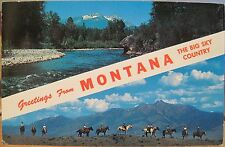 Postcard GREETINGS FROM MONTANA Big Sky Country River Riders Doward Roahen 1960s