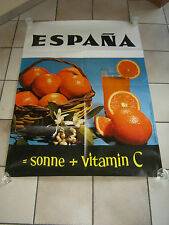 MANIFESTO,ANNI 70 ,SPAGNA,ESPANA,ARANCE AGRUMI,SPREMUTA,SOLE,VITAMINA C