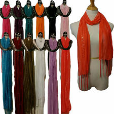New Solid Wholesale 6pc LOT Polyester Shawl Long Scarf Stole Wrap Women scarves