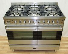 BRITANNIA DUAL FUEL RANGE COOKER DOUBLE OVEN WITH GRILLS STAINLESS STEEL 100 CM