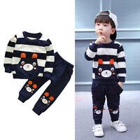 2 Piezas Set Niño Infantil Bebé Niños Ropa Suéter Camisa + Pantalones Chándal