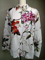 Escada Women's Size 42 Floral Long Sleeve Button-Down White Shirt 1357
