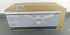"Littleton 42"" Indoor White Ceiling Fan w/Schoolhouse Glass Shade Light Kit NIB"