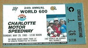 Nascar 1983 World 600 ticket stub Neil Bonnett 12th win