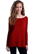 87c43443cc Piko Women s Famous Long Sleeve Bamboo Top Loose Fit Red or Wine Small ...