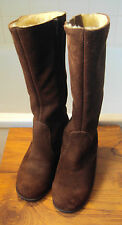 Morlands brown suede& sheepskin lined Winter mid-calf zipper boots ~size 5~ fab!
