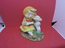 vintage small figurine with little girl and lamb