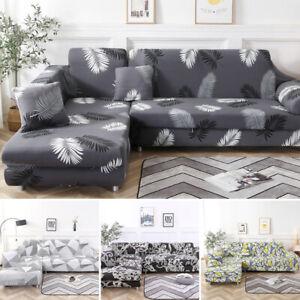 New Modern Stretch Elastic Fabric Sofa Cover Sectional Corner L-Shape Slipcovers