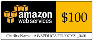 $100 AWS Amazon Web Services Promocode Credit Code Immediately sent