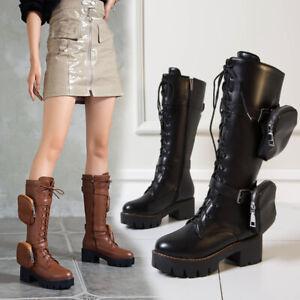 New Trendy Women's Winter Pocket Lace Up Block Heel Mid-calf Boots Shoes Hot