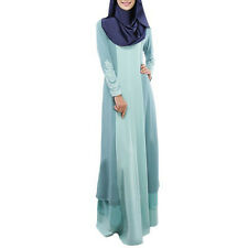Dubia Style Muslim Kaftan Abaya Jilbab Islamic Women Long Sleeve Maxi Dress M-XL