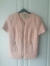 Zara Trafaluc Short Sleeve Peach Faux Leather Quilted Jacket size M