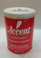 Vintage 1960's Red White Accent Large 7x10 Old Empty Food Tin Canister FREE S/H
