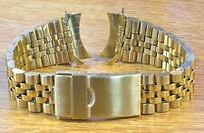 20mm Curved Jubilee Gold Stainless Metal Watch Band Link Bracelet