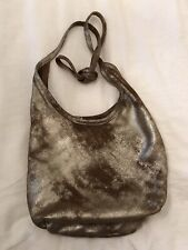 Rough & Tumble, Maine. Distressed Gold Leather Soft Slouch Hobo Tote Bag