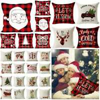 "18"" Christmas Cushion Cover Santa Claus Pattern Square Pillow Case Sofa Car Deco"