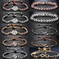 Elegant Infinity Heart Zircon Crystal Women Bracelet Bangle Jewelry Gift Wedding