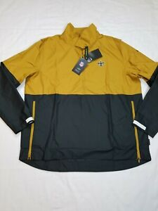 Nike Men's New Orleans Saints 1/2 Zip Windbreaker Black/Gold Size Xlarge RARE