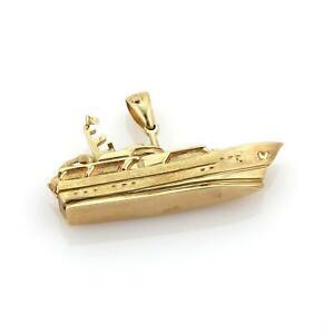 Large & Heavy Estate 14k Yellow Gold Intricate Design Yacht Pendant