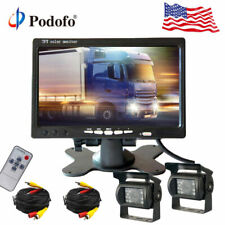 """2x Wired Rear View Backup Camera System 7"""" Monitor for Truck RV Car Bus 12-24v"""
