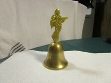 """Vintage Solid Brass 4.-3/4"""" Bell With [ Angle Handle ]~Quality Item!"""