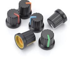 6x Coloured 6mm Shaft Hole Dia Potentiometer Volume Control Knob Cap Plastic