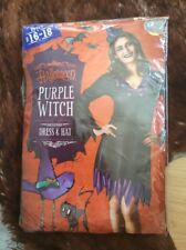 Halloween Women's Purple Witch Costume Size 16-18