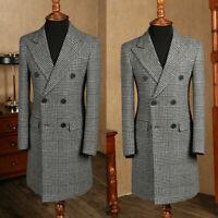 Men Long Overcoat Wool Windowpane Double-breasted Wide Peaked Lapel Suits Coat