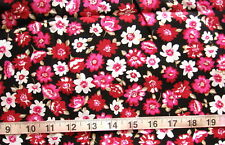 100% Cotton Fabric Black with Hot Pink/Red/White Flowers with Tan Leaves