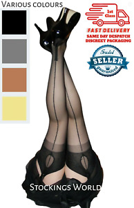 Fully Fashioned Stockings Seamed Cuban Heel KEY HOLE WELT  Various colours M/L