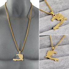Women/Girls Haiti Map Necklace Pendants Charm Ayiti Sweater Chain Jewelry Gifts